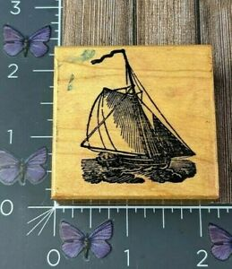 PSX Designs Sailboat  Rubber Stamp 1983 Wood #AK137