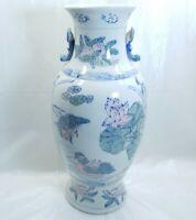 Vintage Handmade Crackled Porcelain Urn Birds and Flowers Japanese Oriental Vase