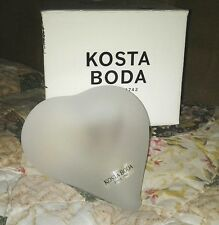 KOSTA BODA ABSTRACT FROSTED SOLID GLASS HEART ART SCULPTURE IN MINT CONDITION