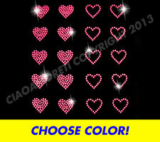 Choose Color-Set of 20 small hearts rhinestone iron on transfer-buy 2,get 1 free