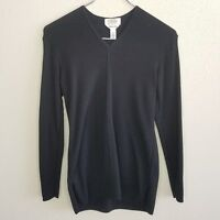 Talbot's Long Sleeve V Neck Sweater Petite Black Made in Italy Wool Blend Womens