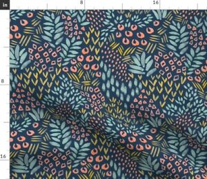 Jungle Allover Pattern Abstract Shapes Turquoise Spoonflower Fabric by the Yard