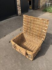 Large Vintage Wicker Laundry Basket With Lid