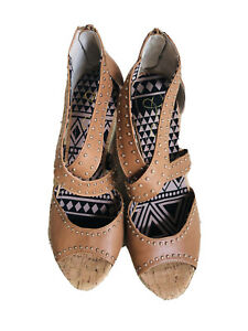 Jessica Simpson Women Wedge  Size 10B  6 In Cork Rope Natural Caiya Platform