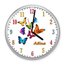 Kinder Wanduhr Schmetterlinge Bunt Kinderuhr Kinderzimmer Uhr Name kein Ticken