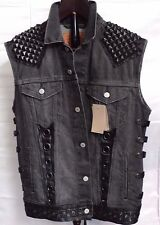 Levis denim vest custom leather and studs emperor,bathory,immortal,VENOM