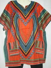Womens Top Shirt Dashiki Green Red Cotton Free Size Fits Size 2X 3X