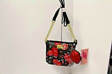 Luv BETSEY JOHNSON Red Rose Double Crossbody Bag LBDOUBLE Glittered lips NWT