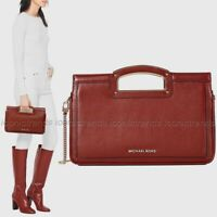 NWT 🍷 Michael Kors Berkley Legacy Large Leather Clutch Brandy Dk Red