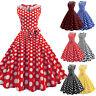 Women Vintage Dot Printing Sleeveless Mesh Patchwork Evening Party Swing Dresses