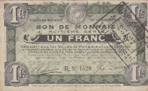 1 FRANC VF EMERGENCY ISSUED NOTE FROM FRANCE/ROUBAIX 1916