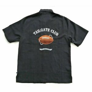 Tommy Bahama Camp Shirt Size S Silk Tailgate Club Chicago Bears NFL Gray