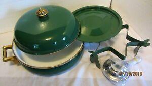 BEAUTIFUL GREEN ENAMEL BUFFET SERVING PAN 3 QT. W/ WARMER, BRASS HANDLES--NEW!!