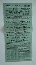 1952 Cartel Plaza de Toros Sevilla 6 Utreros Gonzalez Maestre Hita Molero López