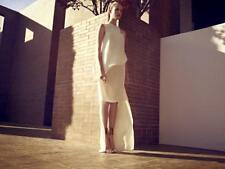 ESTEBAN CORTAZAR Ivory Sheer Cut Out High Low Dress Gown 38 2
