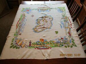 Vtg Scenic/Multi Graphic Souvenir Ireland Tablecloth Shamrocks/Rock of Cashel+++