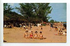 Pompano Beach FL Florida four women in bathing suits on beach, having fun 1960