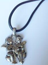collier bijou cordon noir pendentif métal couleur argent 2 angelots coeur 592