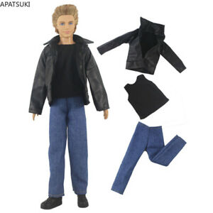 1/6 Boy Doll Clothes For Ken Doll Winter Wear Leather Coat Shirt Trousers Pants