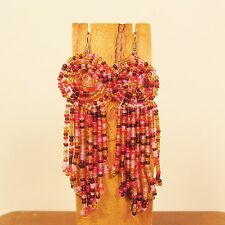 "3"" Orange Pink Multi Color Long Handmade Dangle Seed Bead Chandilier Earring"