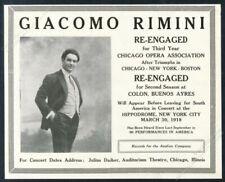 1918 Giacomo Rimini photo opera recital booking vintage trade print ad