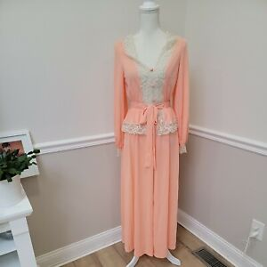Vintage 60s Gossard Artemis Peach Robe Nylon With Ivory Lace size Small