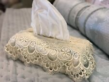 New One Gold Lace Luxury Crochet Tissue Box Cover Ivory Vintage  Antique Style