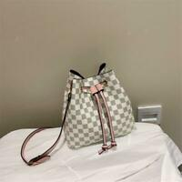 New Bucket Bag Fashion Large Women Plaid Shoulder Messenger Solid Casual Leather