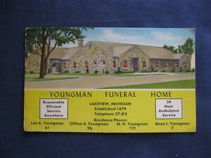 Vintage Ink Blotter Youngman Funeral Home Lakeview MI  Michigan LV