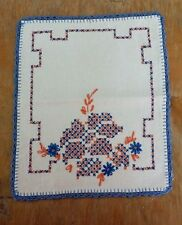 Vintage Orange Blue Floral Hand Embroidery Rectangle Fabric Doilie Free Shipping