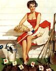 "Vintage GIL ELVGREN Pinup Girl A2 CANVAS PRINT Poster Sexy garden Bed 24"" X 18"""