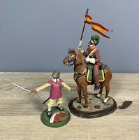 2 x Benassi Metal Soldiers - Spannish Flag Carrier on Horse & Swordsman Models