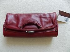NEW WITH TAG ELLIOTT LUCCA Leather Clutch Handbag PASCALE Fold-over RED