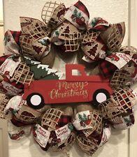FARMHOUSE Red Truck CHRISTMAS WREATH 🎄 BURLAP Deco Mesh Buffalo Plaid RUSTIC
