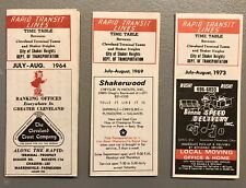 lot of 3 Rapid Transit Lines timetables, Cleveland to Shaker Heights, 64, 69, 73