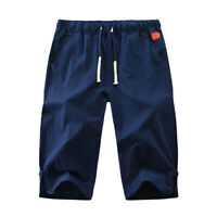 Men Casual Cotton Linen Shorts Training Outdoor Loose Sport Cropped Pants