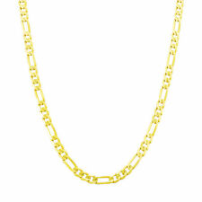"14K Yellow Gold 4.5mm Italian Figaro Chain Link Necklace Mens Women 22"" 22in"