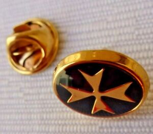 9ct 9k 375 Yellow Gold Malta Maltese Cross Lapel Pin Suit pin Red/Black enamel