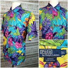 Vtg Polo Ralph Lauren Adams Mens Lg S/S Button Front Floral Hawaiian Shirt VGC!