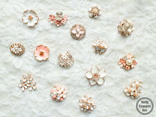 10 Assorted Mix Lot Pearl Rhinestone White Pink Flat back Brooches Button