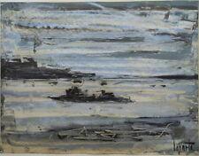 Georges LAPORTE (1926-2000) huile sur carton fin la Mer P1771