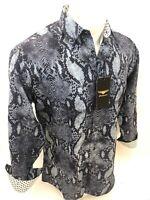 Men PREMIERE REPTILE SNAKESKIN Long Sleeve BUTTON UP Dress Shirt BLACK GRAY 659