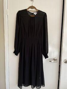 Black Long Sleeve Dress By Witchery Sz 14