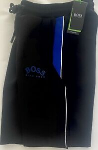 HUGO BOSS 'CURVED LOGO' JOG SHORTS - BLACK/ROYAL - LARGE - BIG%%
