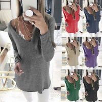 Wome's Off Shoulder Casual Rib Knit Loose Blouse Low Cut Club Party Shirt Tops