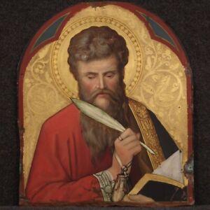 Ancien tableau religieux huile sur cuivre Saint Matthieu peinture 19ème siècle