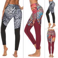 Leaves Women Compression Yoga Leggings High Waist Fitness Push Up Sport Pants US