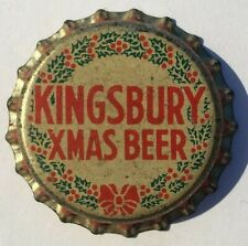 KINGSBURY XMAS BEER BOTTLE CAP; 1934-73; SHEBOYGAN & MANITOWOC, WI; UNUSED CORK