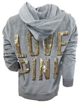 Victoria's Secret Pink Perfect Velour Hoodie Gray Bling Large NWT