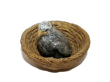 """Vintage 3""""eaglet in 6"""" nest eagle chick baby bird ceramic mini hand painted"""